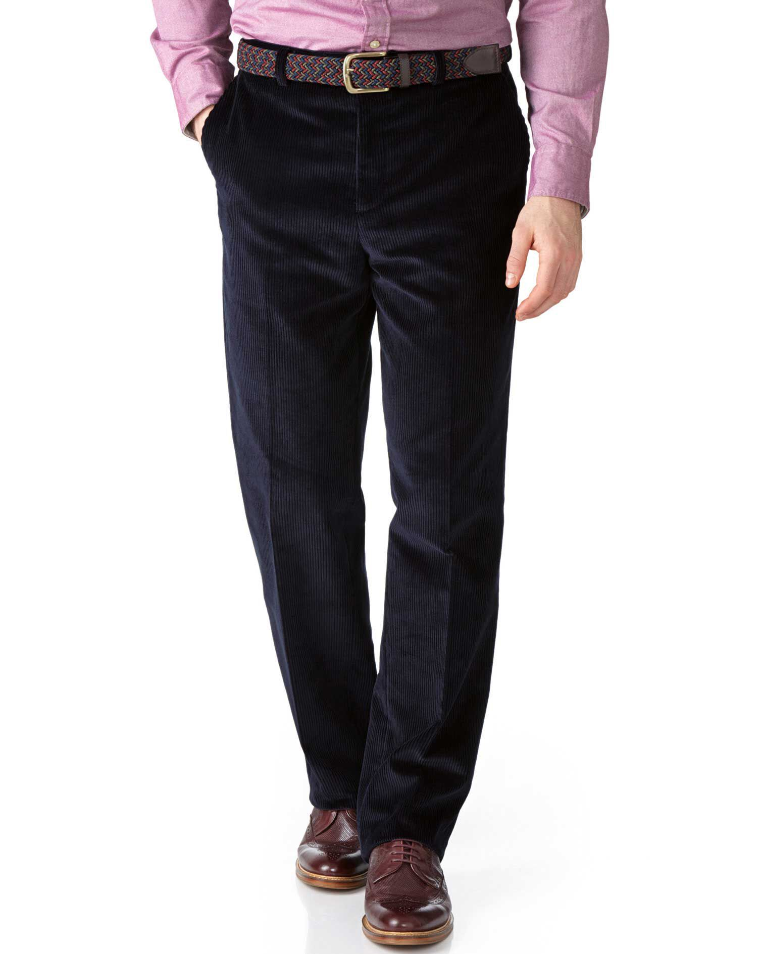 Navy Classic Fit Jumbo Cord Trousers Size W42 L32 by Charles Tyrwhitt