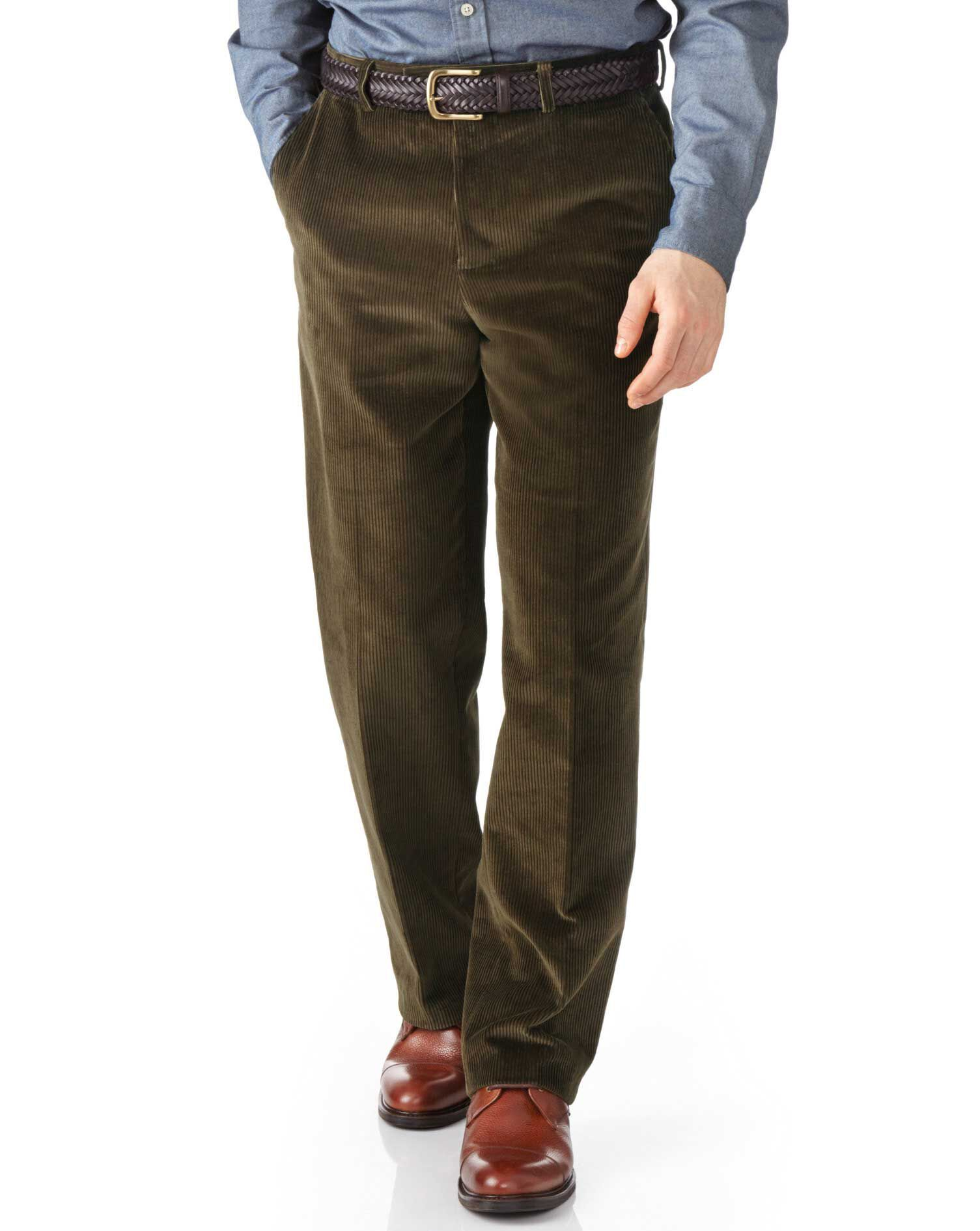 Olive Classic Fit Jumbo Cord Trousers Size W32 L30 by Charles Tyrwhitt