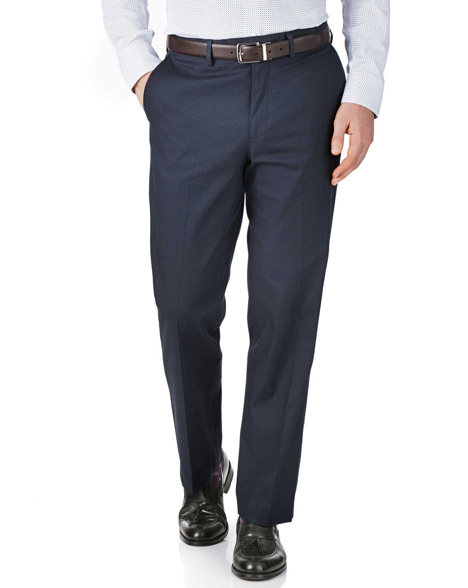 Navy and Blue Classic Fit Puppytooth Trousers Size W32 L32 by Charles Tyrwhitt