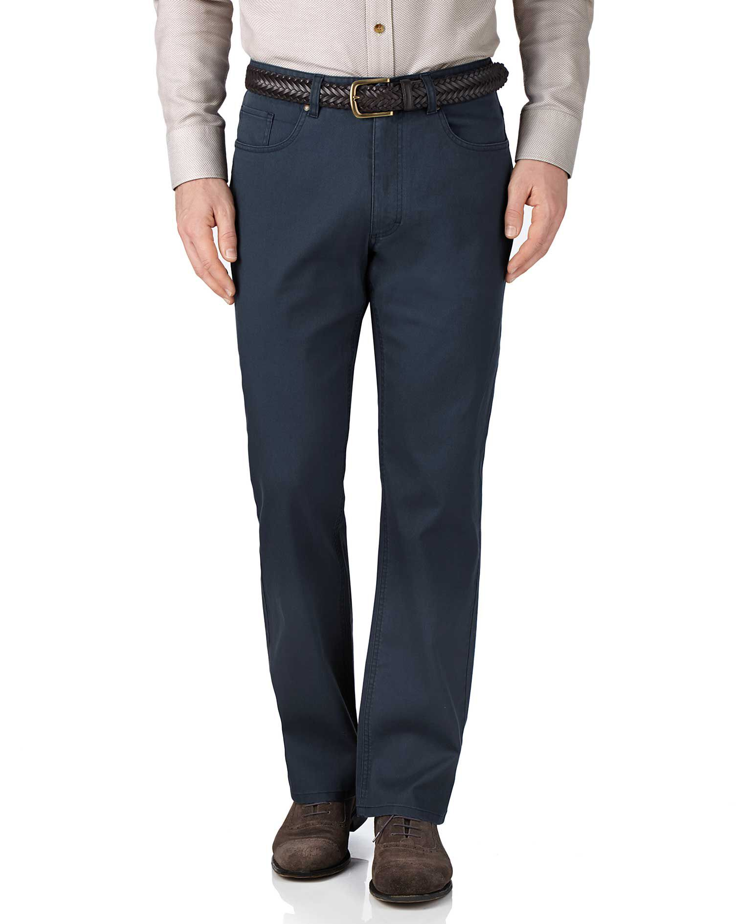 Blue Classic Fit Stretch Pique 5 Pocket Trousers Size W38 L34 by Charles Tyrwhitt