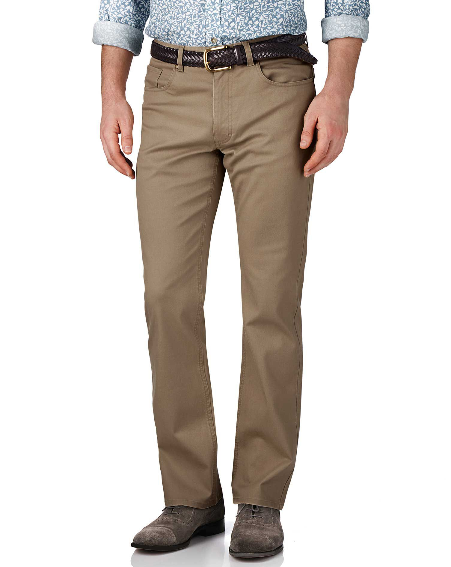 Stone Classic Fit Stretch Pique 5 Pocket Trousers Size W38 L32 by Charles Tyrwhitt