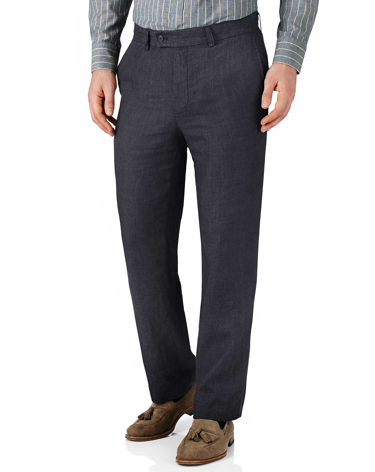 Navy Classic Fit Linen Trousers Size W38 L34 by Charles Tyrwhitt
