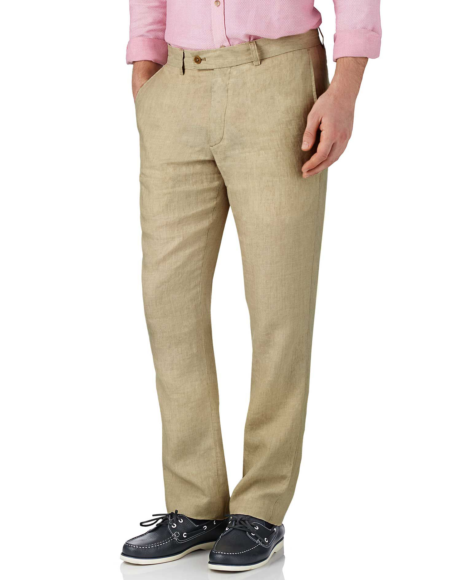 Stone Slim Fit Linen Trousers Size W38 L34 by Charles Tyrwhitt