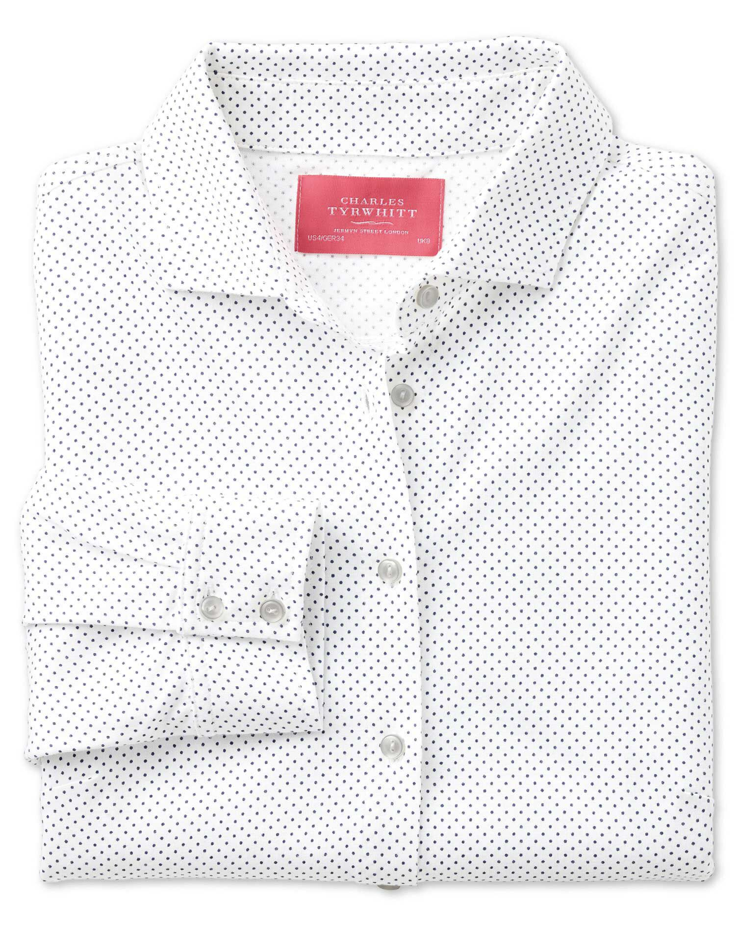 White Pindot Print Jersey Cotton Shirt Size 16 by Charles Tyrwhitt