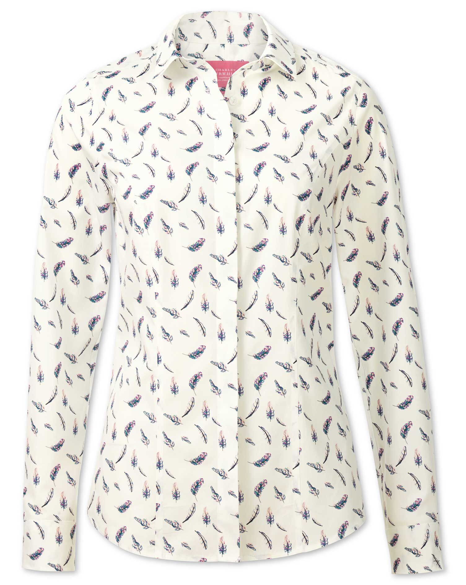Women's Semi-Fitted Non-Iron Feather Print Cotton Shirt Size 20 by Charles Tyrwhitt