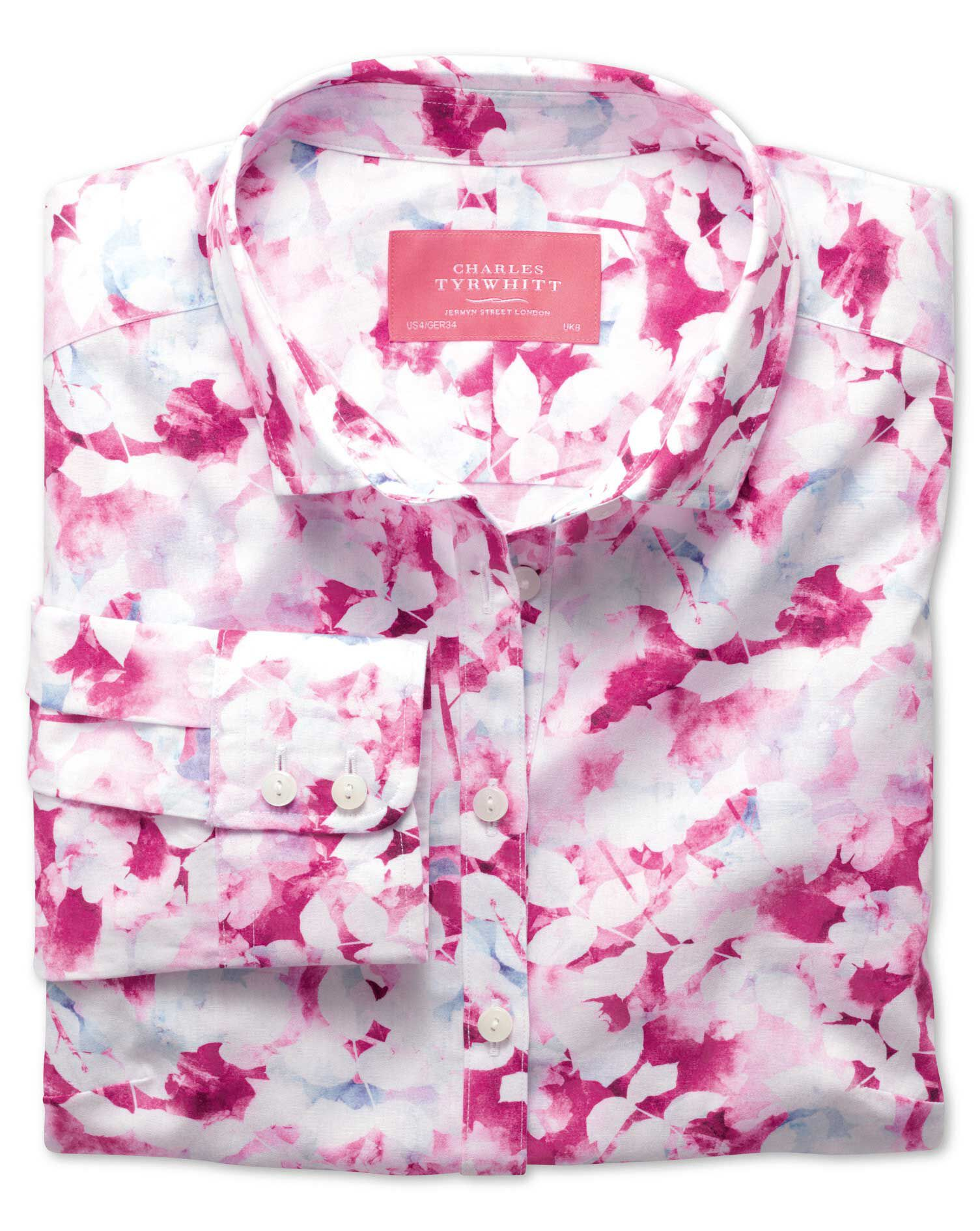 Women's Semi-Fitted Cotton Poplin Pink Multi Watercolour Shirt Size 12 by Charles Tyrwhitt