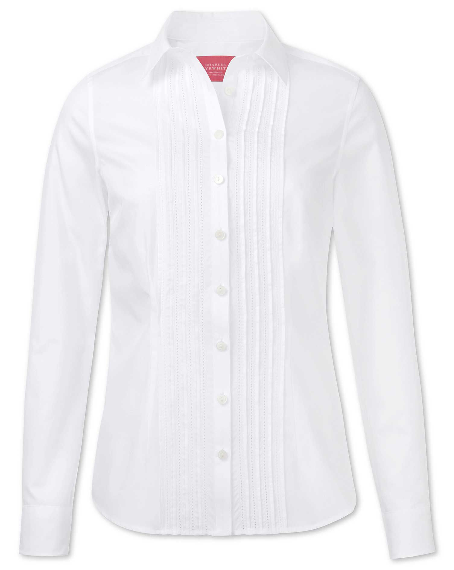 Women's Semi-Fitted Pintuck White Essential Cotton Shirt Size 14 by Charles Tyrwhitt