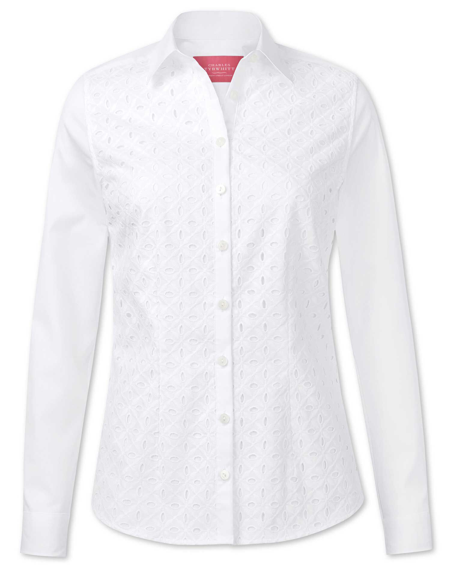 Women's Semi-Fitted White Cutwork Detail Essential Cotton Shirt Size 14 by Charles Tyrwhitt