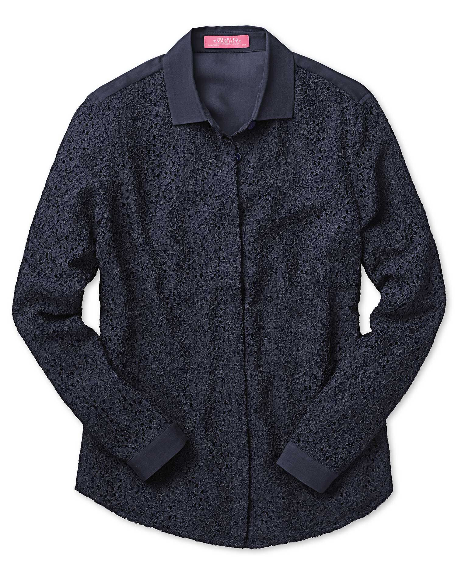 Charles Tyrwhitt Women's Semi Fitted Corded Lace Navy Silk Shirt Size 4