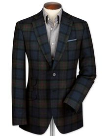 Slim fit blue check luxury border tweed jacket