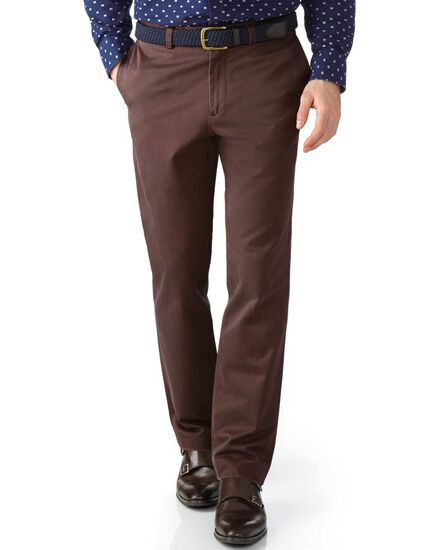 Brown slim fit flat front chinos