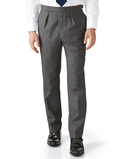 Dark grey classic fit morning suit trousers