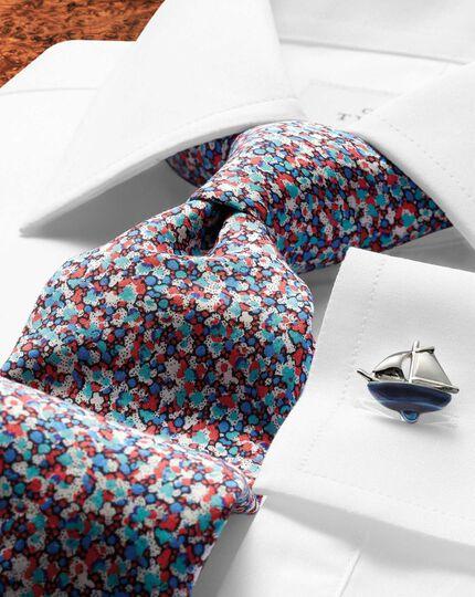 Pink multi cotton luxury Italian floral tie