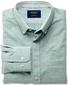 Classic fit green washed Oxford shirt