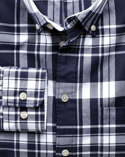 Extra slim fit navy and white check washed Oxford shirt