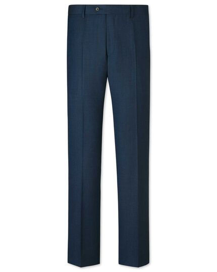 Ink blue slim fit sharkskin business suit trousers