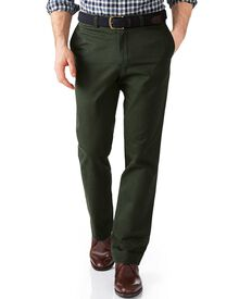 Dark green slim fit flat front chinos