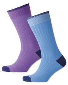 Sky and lilac ribbed 2 pack socks