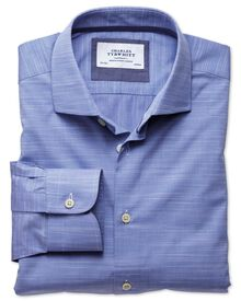 Classic fit semi-cutaway collar business casual slub cotton blue shirt