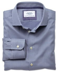 Slim fit semi-cutaway collar business casual double-faced navy shirt