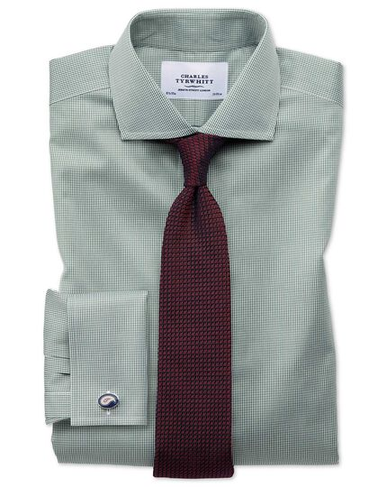 Extra slim fit cutaway non-iron puppytooth olive shirt