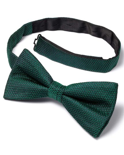 Green silk classic plain ready-tied bow tie