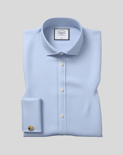 Chemise bleu ciel en pied-de-poule sans repassage slim fit avec col cutaway