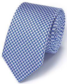 Slim blue silk classic puppytooth tie