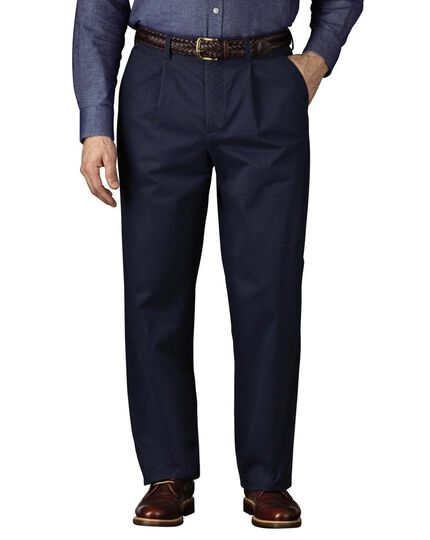 Marine blue classic fit single pleat chinos