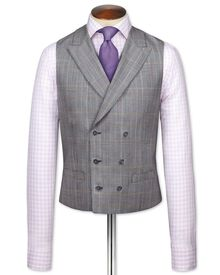Grey check British Panama luxury suit waistcoat