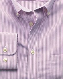 Slim fit non-iron poplin berry stripe shirt