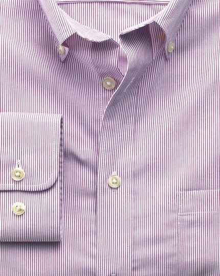 Slim fit non-iron poplin berry stripe shirt