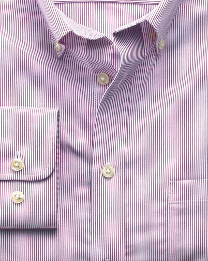 Extra slim fit non-iron poplin berry stripe shirt