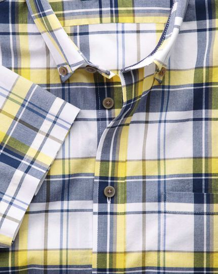Slim fit poplin short sleeve navy and yellow check shirt