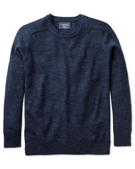Indigo blue heather crew neck jumper