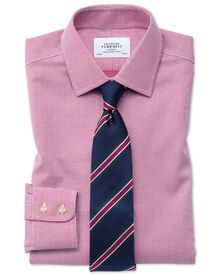 Slim fit non-iron square weave magenta shirt
