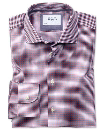 Classic Fit Business-Casual Hemd in rot und marineblau mit Gingham-Karos