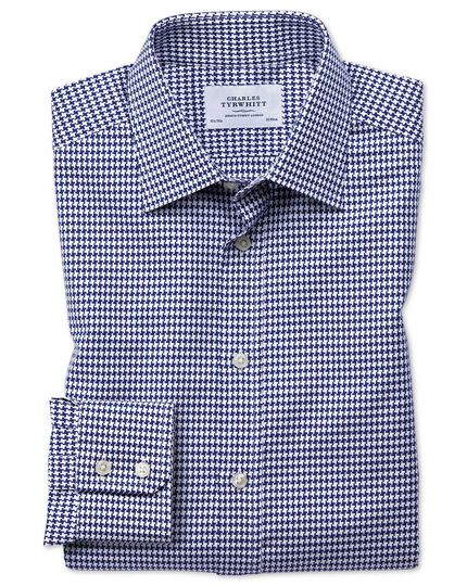 Slim fit large puppytooth blue shirt