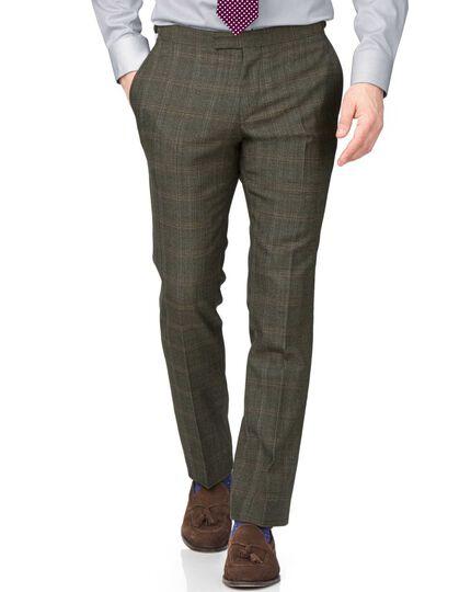 Khaki slim fit thornproof luxury suit pants