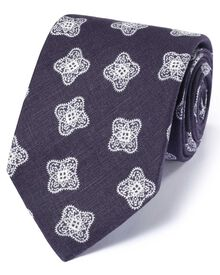 Navy linen English luxury medallion tie