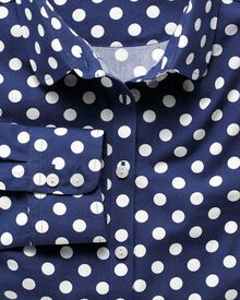 Women's semi-fitted linen spot print navy and white poplin shirt