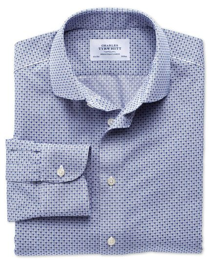 Slim fit semi-spread collar non-iron business casual grid check blue shirt