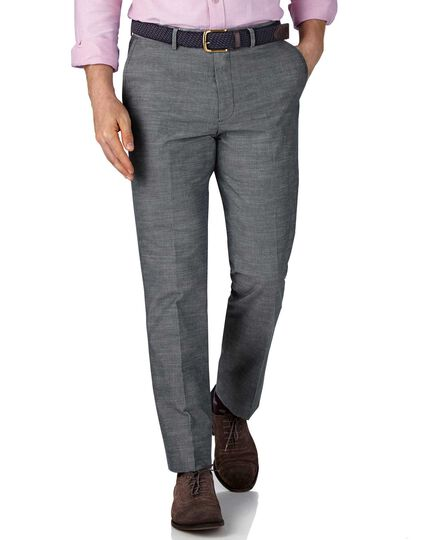 Blue chambray slim fit pants