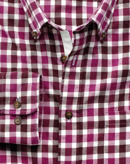 Classic fit berry check brushed dobby shirt