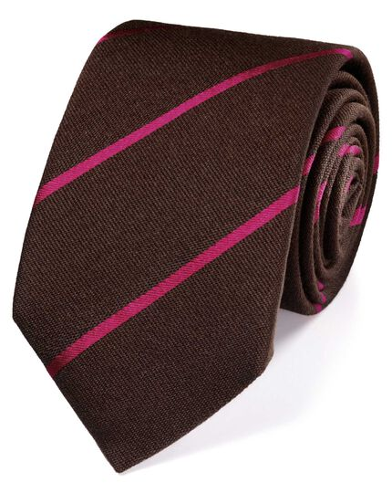 Brown wool mix stripe luxury tie