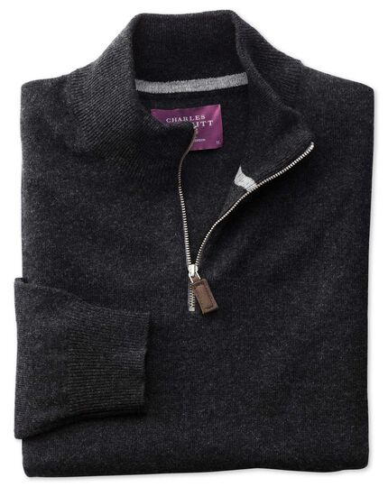 Charcoal cashmere zip neck jumper