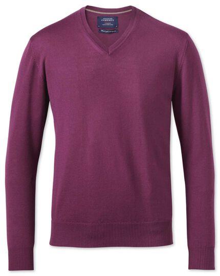 Berry merino wool v-neck sweater
