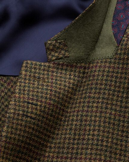 Slim Fit Luxus-Tweedsakko in olivGrün mit Karos