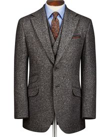 Grey slim fit Donegal tweed jacket