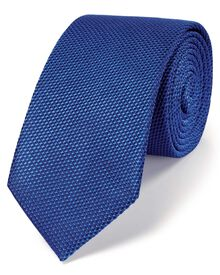 Royal blue silk classic plain slim tie